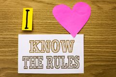 Word writing text Know The Rules. Business concept for Be aware of the Laws Regulations Protocols Procedures written on Sticky Not. Word writing text Know The stock image
