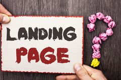 Word writing text Landing Page. Business concept for Website accessed by clicking a link on another web page written on Cardboard. Word writing text Landing Page Stock Image