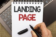Word writing text Landing Page. Business concept for Website accessed by clicking a link on another web page written by Man Holdin. G Pen Notebook Book placed Stock Images