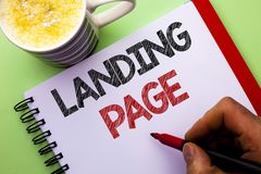 Word writing text Landing Page. Business concept for Website accessed by clicking a link on another web page written by Man on Not. Word writing text Landing Royalty Free Stock Photography