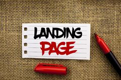 Word writing text Landing Page. Business concept for Website accessed by clicking a link on another web page written on Notebook P. Word writing text Landing Royalty Free Stock Photography