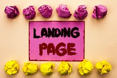 Word writing text Landing Page. Business concept for Website accessed by clicking a link on another web page written on Pink Stick. Word writing text Landing Stock Images