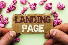 Word writing text Landing Page. Business concept for Website accessed by clicking a link on another web page written on Tear Cardb. Word writing text Landing Royalty Free Stock Photo