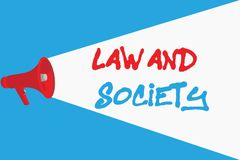 Word writing text Law And Society. Business concept for Address the mutual relationship between law and society.  royalty free illustration