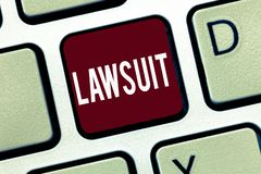 Word writing text Lawsuit. Business concept for Claim Dispute brought to law courthouse Legal trial auction royalty free stock images