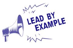 Word writing text Lead By Example. Business concept for Be a mentor leader follow the rules give examples Coach Purple megaphone l. Oudspeaker important message stock illustration
