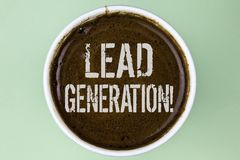 Word writing text Lead Generation Motivational Call. Business concept for Sales pipeline digital generating leads written on Coffe. Word writing text Lead Royalty Free Stock Image