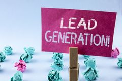 Word writing text Lead Generation Motivational Call. Business concept for Sales pipeline digital generating leads written on Pink. Word writing text Lead royalty free stock photos