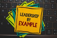 Word writing text Leadership By Example. Business concept for Becoming role model for people Have great qualities Multiple colour. Sticky border cards computer royalty free stock photos