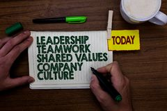 Word writing text Leadership Teamwork Shared Values Company Culture. Business concept for Group Team Success Man holding marker no royalty free stock image