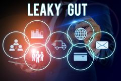 Word writing text Leaky Gut. Business concept for A condition in which the lining of small intestine is damaged Male
