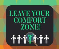 Word writing text Leave Your Comfort Zone. Business concept for Make changes evolve grow take new opportunities Magnifying Glass. Over Chosen Man Figure Among stock illustration