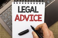 Word writing text Legal Advice. Business concept for Recommendations given by lawyer or law consultant expert written by Man Holdi. Ng Pen Notebook Book placed stock photo