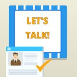 Word writing text Let S Is Talk. Business concept for suggesting in the beginning of a conversation on the topic. Word writing text Let S Is Talk. Business photo royalty free illustration