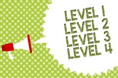 Word writing text Level 1 Level 2 Level 3 Level 4. Business concept for Steps levels of a process work flow Megaphone loudspeaker. Speech bubble message green vector illustration