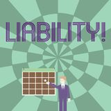 Word writing text Liability. Business concept for State of being legally responsible for something Responsibility. Word writing text Liability. Business photo vector illustration