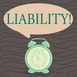 Word writing text Liability. Business concept for State of being legally responsible for something Responsibility Round. Word writing text Liability. Business vector illustration
