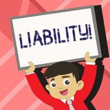 Word writing text Liability. Business concept for State of being legally responsible for something Responsibility Young. Word writing text Liability. Business royalty free illustration