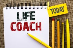 Word writing text Life Coach. Business concept for Mentoring Guiding Career Guidance Encourage Trainer Mentor written on Notebook. Word writing text Life Coach Stock Image