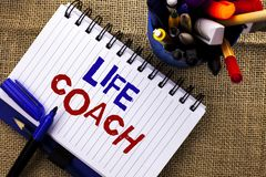 Word writing text Life Coach. Business concept for Mentoring Guiding Career Guidance Encourage Trainer Mentor written on Notebook. Word writing text Life Coach Stock Photos