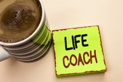 Word writing text Life Coach. Business concept for Mentoring Guiding Career Guidance Encourage Trainer Mentor written on Green Sti. Word writing text Life Coach Royalty Free Stock Image