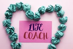 Word writing text Life Coach. Business concept for Mentoring Guiding Career Guidance Encourage Trainer Mentor written on Pink Stic. Word writing text Life Coach Royalty Free Stock Photography