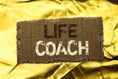 Word writing text Life Coach. Business concept for Mentoring Guiding Career Guidance Encourage Trainer Mentor written on tear Card. Word writing text Life Coach Royalty Free Stock Photography