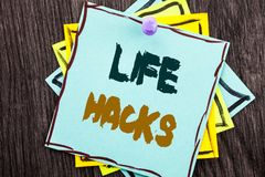 Word, writing, text  Life Hacks. Business concept for Solution Hacking Hack Trick To Help Efficiency written on Blue Sticky Note P. Word, writing, text  Life Stock Photography
