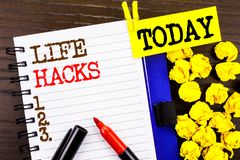 Word, writing, text  Life Hacks. Business concept for Solution Hacking Hack Trick To Help Efficiency written on notebook book pape. Word, writing, text  Life Stock Image