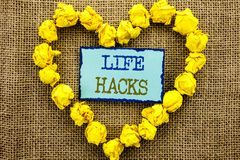Word, writing, text  Life Hacks. Business concept for Solution Hacking Hack Trick To Help Efficiency written on Sticky Note Paper. Word, writing, text  Life Stock Images