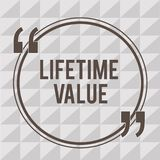 Word writing text Lifetime Value. Business concept for Worth of the customer over the lifetime of the business.  royalty free illustration