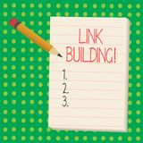 Word writing text Link Building. Business concept for Process of acquiring hyperlinks from other websites Connection. Word writing text Link Building. Business royalty free illustration