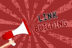 Word writing text Link Building. Business concept for SEO Term Exchange Links Acquire Hyperlinks Indexed Man holding megaphone lou. Dspeaker grunge red rays royalty free illustration