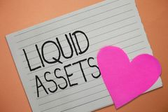 Word writing text Liquid Assets. Business concept for Cash and Bank Balances Market Liquidity Deferred Stock.  stock image