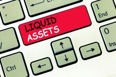 Word writing text Liquid Assets. Business concept for Cash and Bank Balances Market Liquidity Deferred Stock.  royalty free stock photo