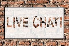 Word writing text Live Chat. Business concept for Real time media conversation Online communicate Brick Wall art like. Word writing text Live Chat. Business royalty free illustration