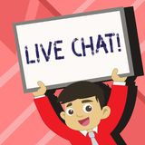 Word writing text Live Chat. Business concept for Real time media conversation Online communicate Young Smiling Student. Word writing text Live Chat. Business royalty free illustration