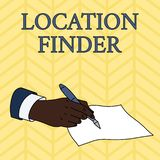 Word writing text Location Finder. Business concept for A service featured to find the address of a selected place Male. Word writing text Location Finder vector illustration