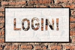 Word writing text Login. Business concept for Act of entering into a computer database or system Starting session Brick royalty free stock photo