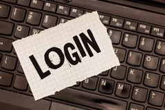 Word writing text Login. Business concept for Entering website Blog using username and password Registration stock photo