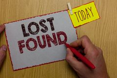 Word writing text Lost Found. Business concept for Things that are left behind and may retrieve to the owner Man holding marker pa. Per clothespin reminder royalty free stock photo