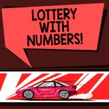 Word writing text Lottery With Numbers. Business concept for game of chance in which showing buy numbered tickets Car. With Fast Movement icon and Exhaust Smoke royalty free illustration
