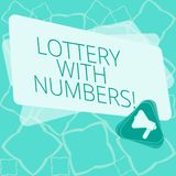 Word writing text Lottery With Numbers. Business concept for game of chance in which showing buy numbered tickets Megaphone Inside. Triangle and Blank Color stock illustration