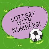 Word writing text Lottery With Numbers. Business concept for game of chance in which showing buy numbered tickets Soccer. Ball on the Grass and Blank Outlined vector illustration