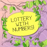 Word writing text Lottery With Numbers. Business concept for game of chance in which showing buy numbered tickets Tree. Branches Scattered with Leaves vector illustration