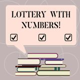 Word writing text Lottery With Numbers. Business concept for game of chance in which showing buy numbered tickets Uneven. Pile of Hardbound Books and Blank vector illustration