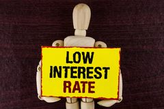 Word writing text Low Interest Rate. Business concept for Manage money wisely pay lesser rates save higher written on Sticky note. Word writing text Low Interest royalty free stock images