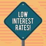 Word writing text Low Interest Rates. Business concept for meant to stimulate economic growth making it cheaper Blank. Diamond Shape Color Road Warning Signage stock illustration