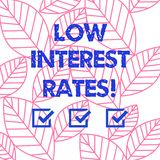Word writing text Low Interest Rates. Business concept for meant to stimulate economic growth making it cheaper Collection of. Leaves Outline Isolated in royalty free illustration