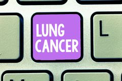 Word writing text Lung Cancer. Business concept for Uncontrolled growth of abnormal cells that start in the lungs.  stock photography